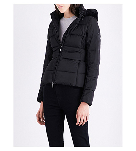 ARMANI JEANS Faux fur-trimmed shell puffer jacket (Nero