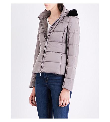 ARMANI JEANS Faux fur-trimmed shell puffer jacket (Fango