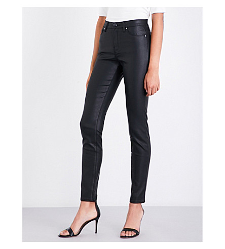 ARMANI JEANS Waxed-effect skinny high-rise jeans (Nero