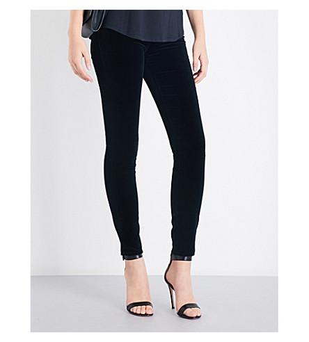 ARMANI JEANS Skinny high-rise velvet jeans (Nero