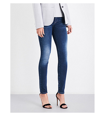 ARMANI JEANS Push up-fit skinny mid-rise jeans (Blu+denim