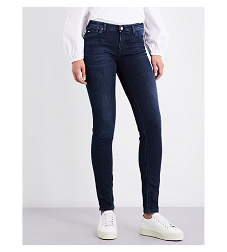 ARMANI JEANS Stud-embellished skinny mid-rise jeans (Blu+denim