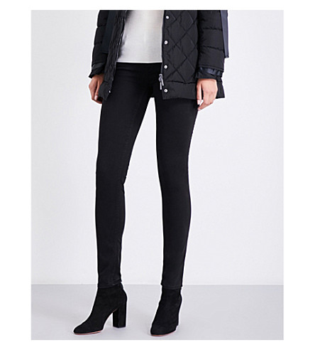 ARMANI JEANS Sateen-coated skinny mid-rise jeans (Nero