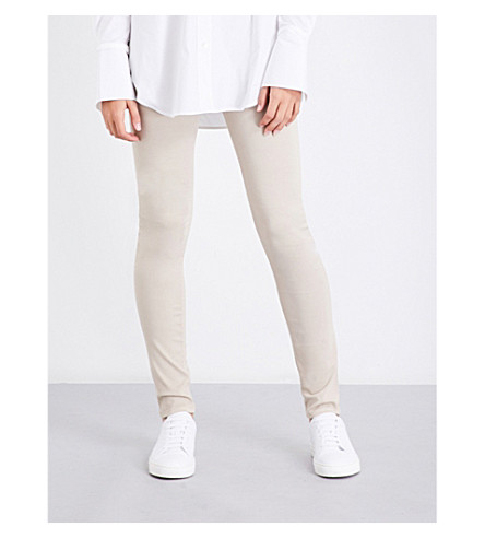 ARMANI JEANS Sateen-coated skinny mid-rise jeans (Beige+chiaro
