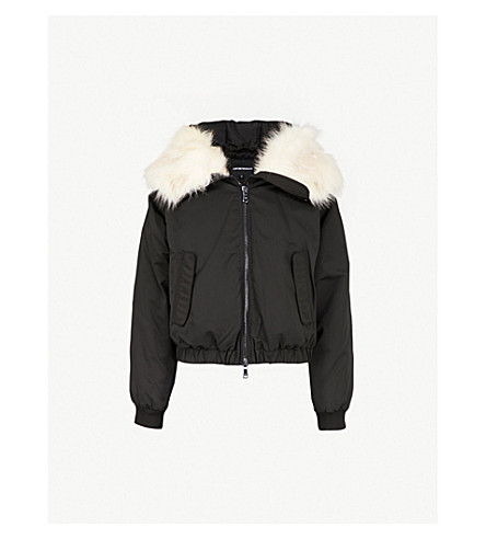 EMPORIO ARMANI Shearling-trimmed shell bomber jacket (Nero
