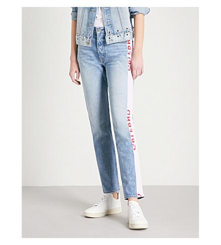 GRLFRND Karolina tape-detail skinny high-rise jeans (La+di+da