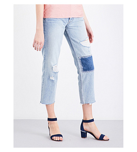 GRLFRND Helena distressed straight high-rise jeans (Morrison