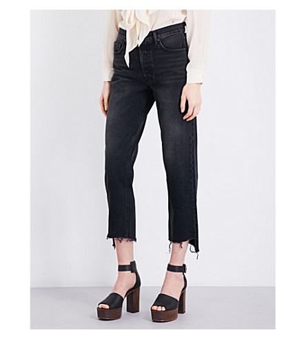 GRLFRND Helena stepped-hem straight high-rise jeans (Proud+mary