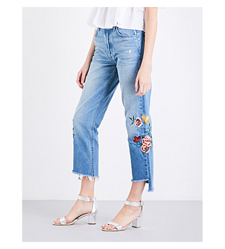 GRLFRND Helena floral-embroidered straight high-rise jeans (Chelsea+hotel
