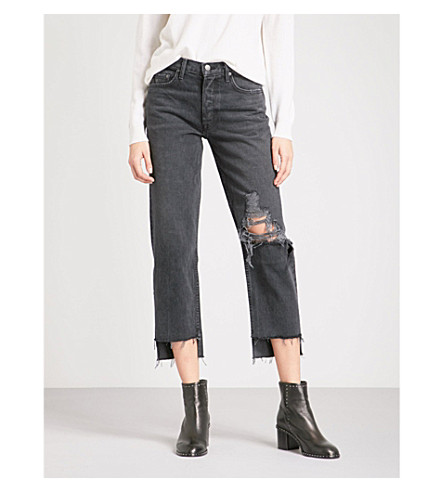 GRLFRND Helena distressed straight cropped high-rise jeans (Magnitude