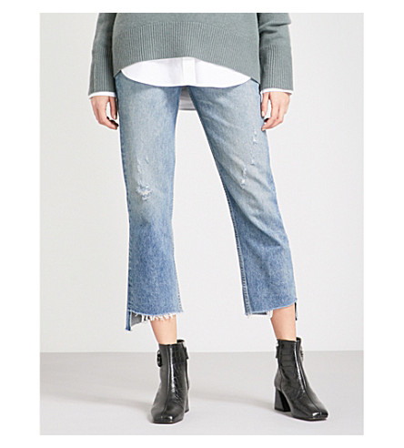 GRLFRND Helena straight cropped high-rise jeans (Atlantic