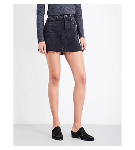 GRLFRND Eva frayed-hem stud-embellished denim mini skirt (Stevi