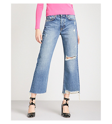 GRLFRND Linda distressed straight cropped high-rise jeans (Zodiac