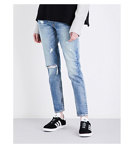 GRLFRND Jane distressed straight high-rise jeans (Rock'n+me