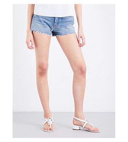 GRLFRND Helena distressed high-rise denim shorts (Mccartney