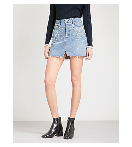 GRLFRND Milla fitted high-rise denim skirt (Solstice