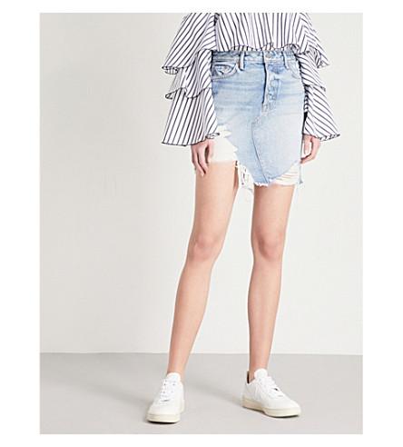 GRLFRND Rhoda distressed high-rise denim mini skirt (Lava+bed