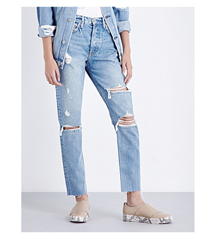 GRLFRND Karolina distressed skinny high-rise jeans (A+little+more+love