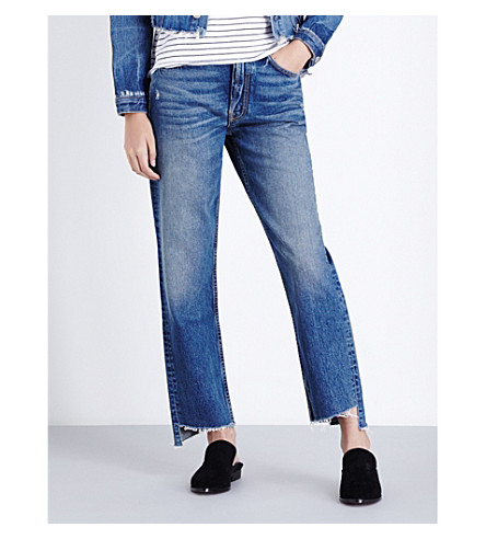 GRLFRND Helena stepped-hem high-rise jeans (Close+to+you