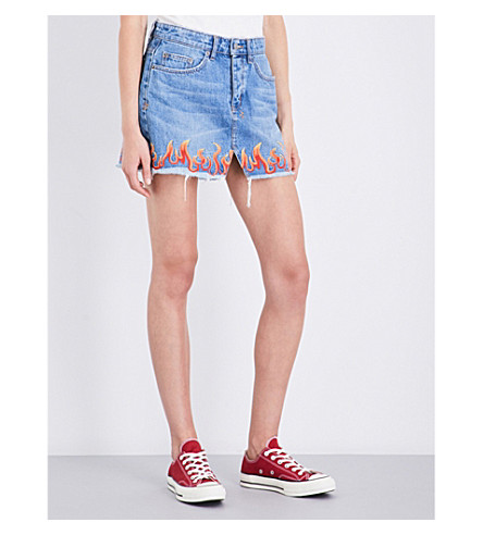 KSUBI Mini Moss mid-rise denim skirt (Blue+flame
