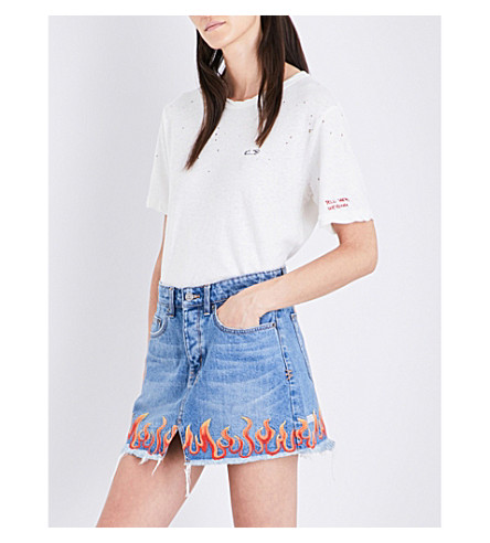 KSUBI Tell Them Nothing cotton and linen-blend T-shirt (White