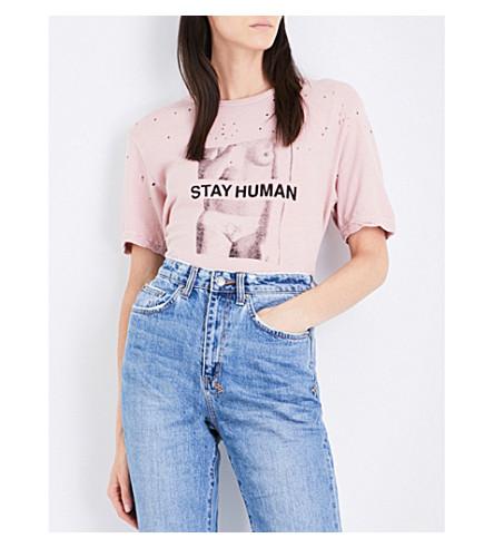 KSUBI Stay Human cotton and linen-blend T-shirt (Pink