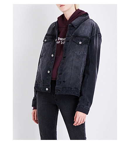 KSUBI Oversized denim jacket (Black+crow+trashed