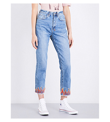 KSUBI Chloe Wasted flame-embroidered straight high-rise jeans (Blue+flame