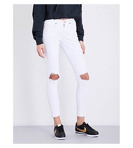 KSUBI Skinny Crop distressed slim-fit mid-rise jeans (White+lies