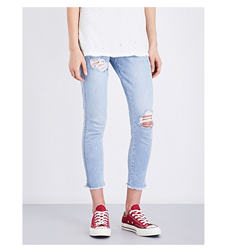 KSUBI Skinny Crop distressed slim-fit mid-rise jeans (Slice+n+dice