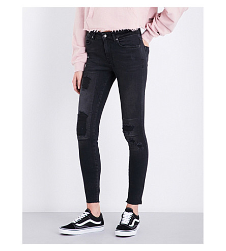 KSUBI Skinny Crop slim-fit mid-rise jeans (Black+putty
