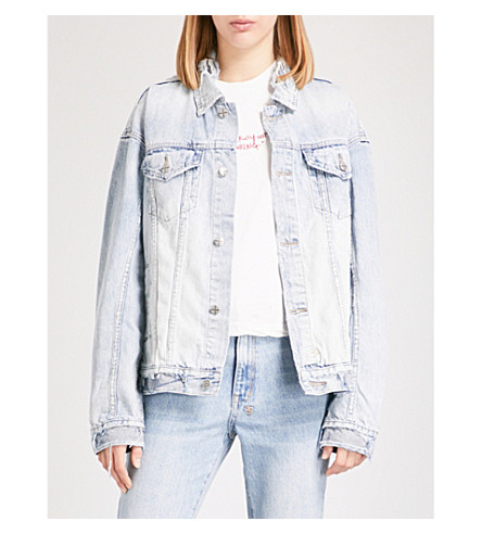 KSUBI Oversized Chillz distressed denim jacket (Blue