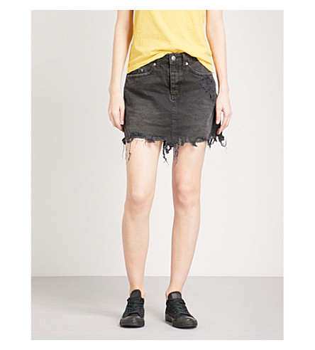 KSUBI Mini Moss denim skirt (Black