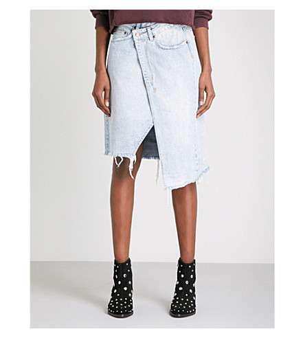 KSUBI Rap wrap-front denim skirt (Denim