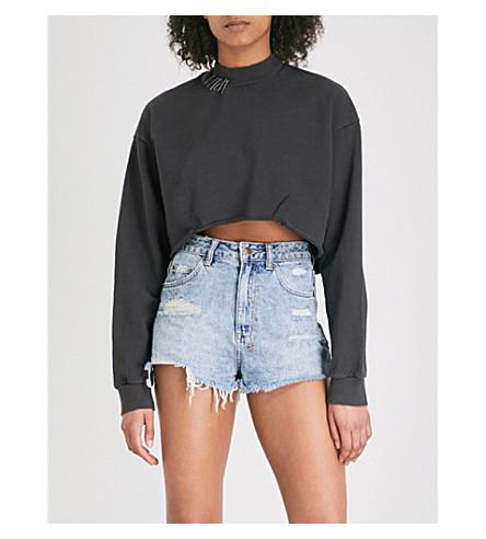 KSUBI Dissect cropped cotton-jersey sweatshirt (Black