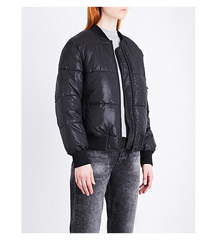 CHEAP MONDAY Risky shell puffer bomber jacket (Black