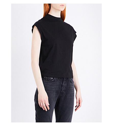CHEAP MONDAY Arch-logo cotton-blend T-shirt (Black
