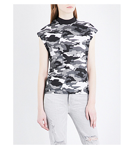 CHEAP MONDAY Dig metallic camouflage-patterned cotton-jersey top (Black