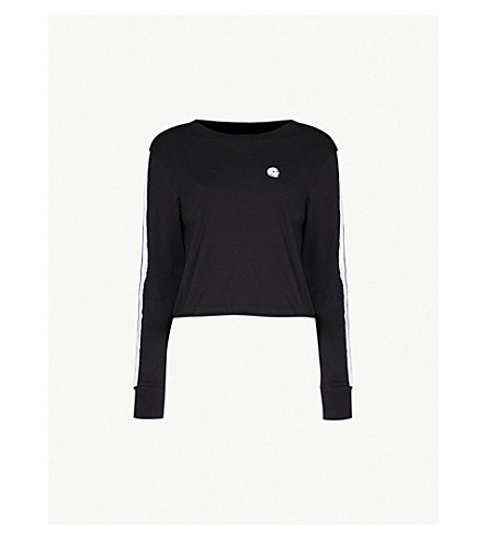 CHEAP MONDAY Striped-sleeves cotton-jersey cropped top (Black