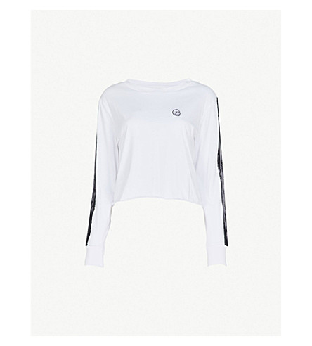 CHEAP MONDAY Striped-sleeves cotton-jersey cropped top (White