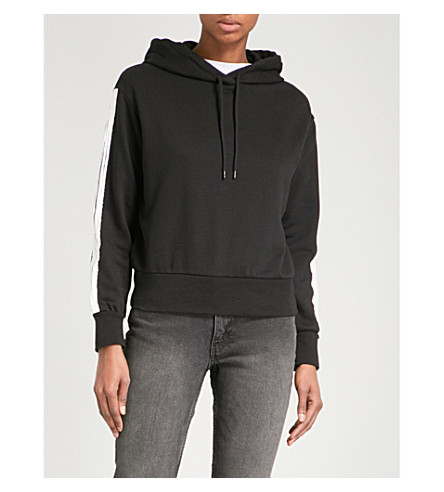 CHEAP MONDAY Striped-sleeves cotton-blend hoody (Black