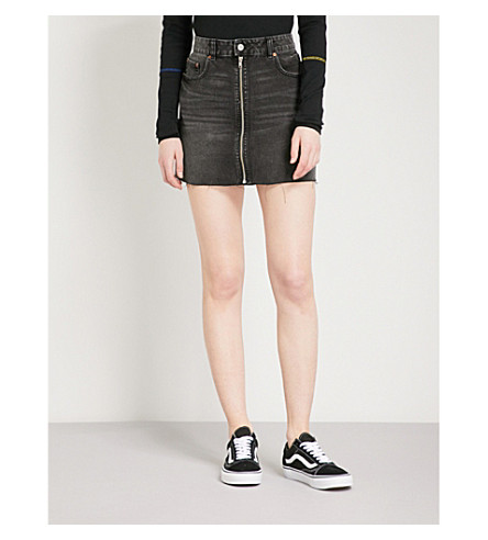CHEAP MONDAY Zipped denim skirt (Black+smoke