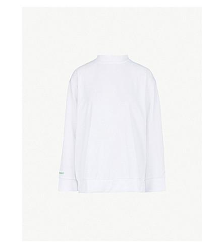 CHEAP MONDAY Two-tone zip-up cotton-blend sweatshirt (White