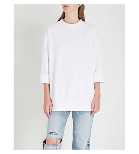 CHEAP MONDAY双色调拉链棉混合运动衫 (白色