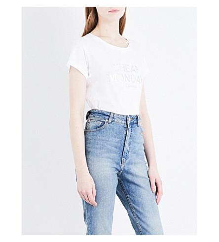 CHEAP MONDAY Glitter-logo cotton-jersey T-shirt (White