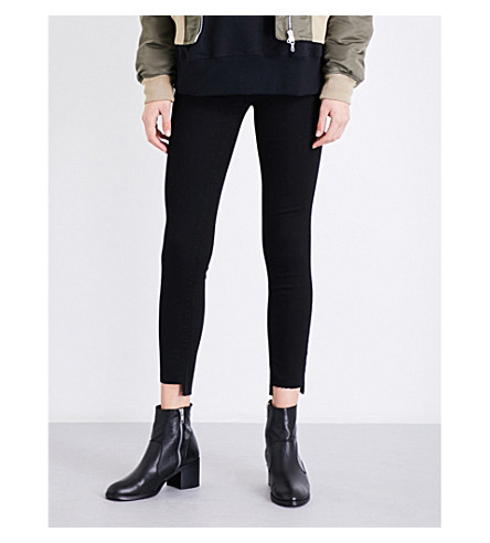 CURRENT/ELLIOTT The Stiletto skinny cropped high-rise jeans (Jet+black
