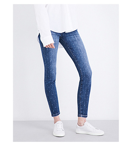 CURRENT/ELLIOTT The Stiletto skinny mid-rise jeans (In+love+w/white+stars