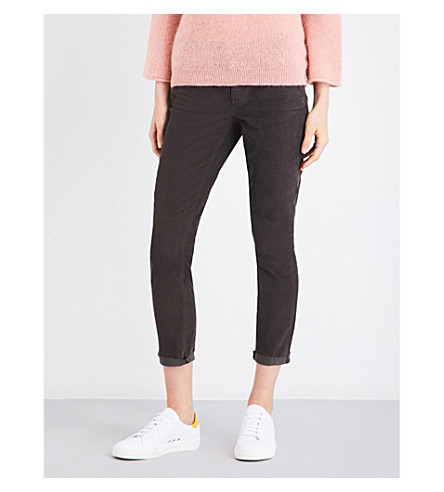 CURRENT/ELLIOTT The Stiletto skinny cropped high-rise corduroy jeans (Washed+black+w/+raw+hem