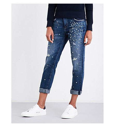 CURRENT/ELLIOTT The Fling embellished cropped mid-rise jeans (Loved+destroy+w/pearls
