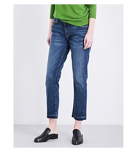 CURRENT/ELLIOTT The Cropped released-hem straight high-rise jeans (Loved+w/+let+out+hem
